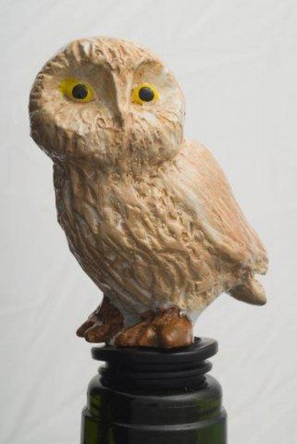 Barn owl bottle stopper