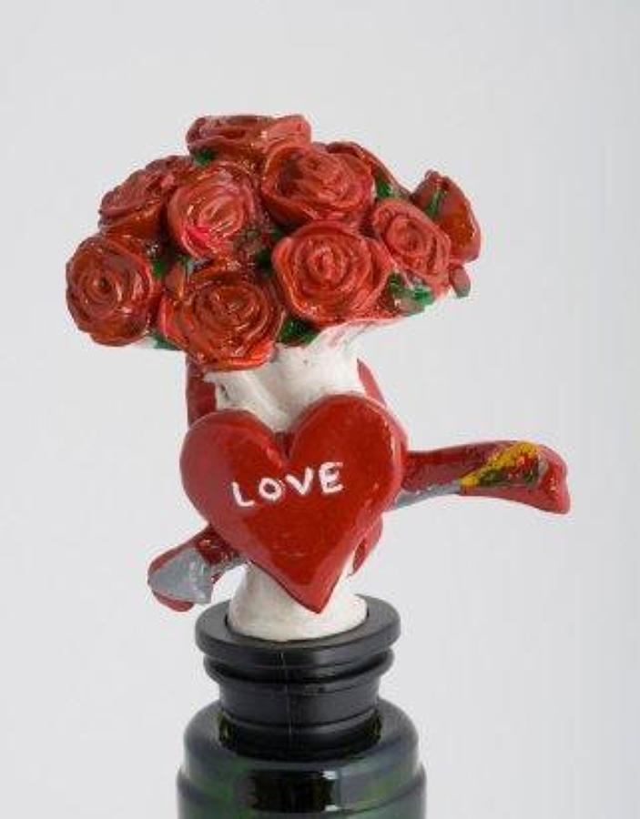 Heart and Flowers bottle stopper