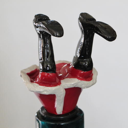 Santa's Legs bottle stopper