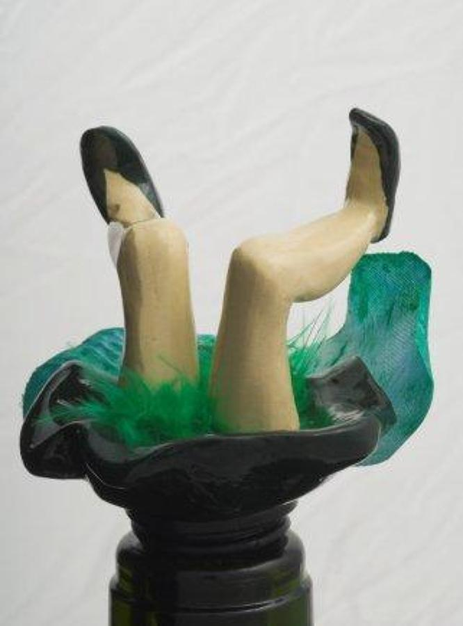 Green wobbly leg fairy bottle stopper