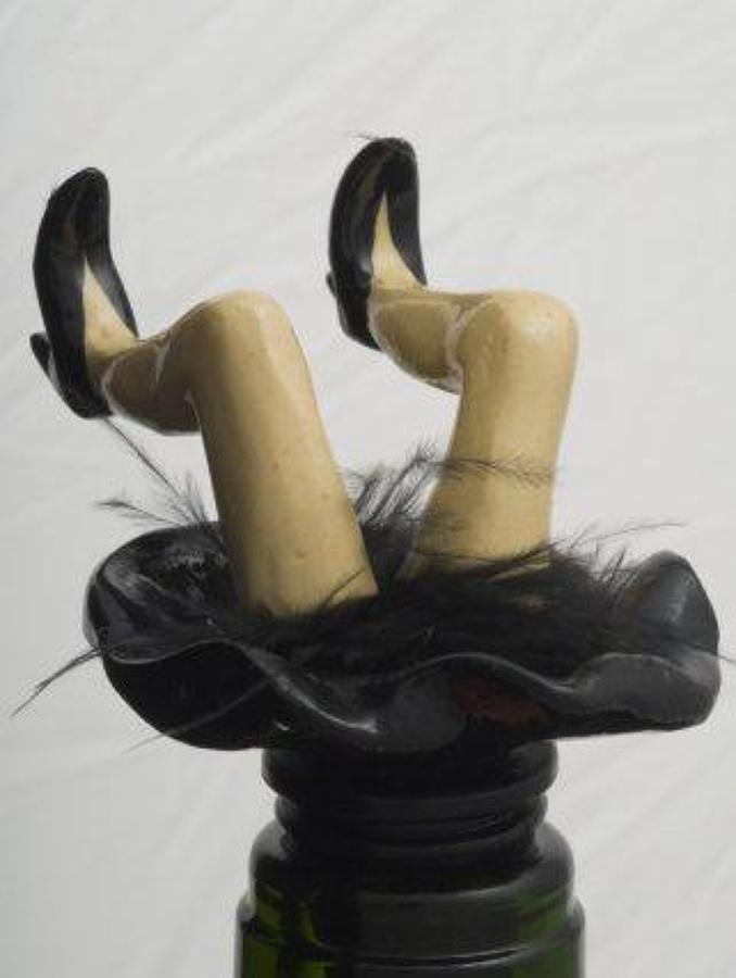 Black Wobbly Legs bottle stopper
