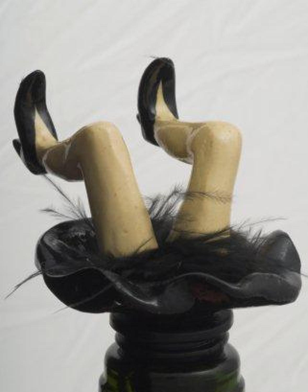 Black Wobbly Legs bottle stopper