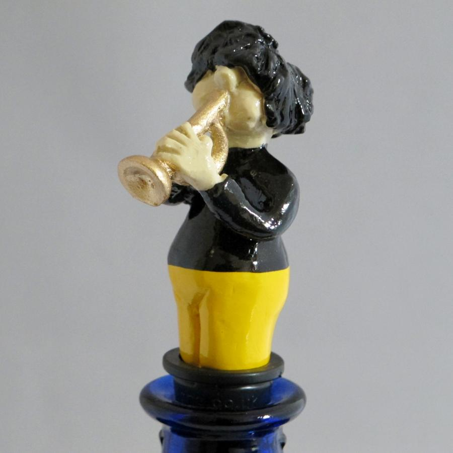 Trumpet Player bottle stopper