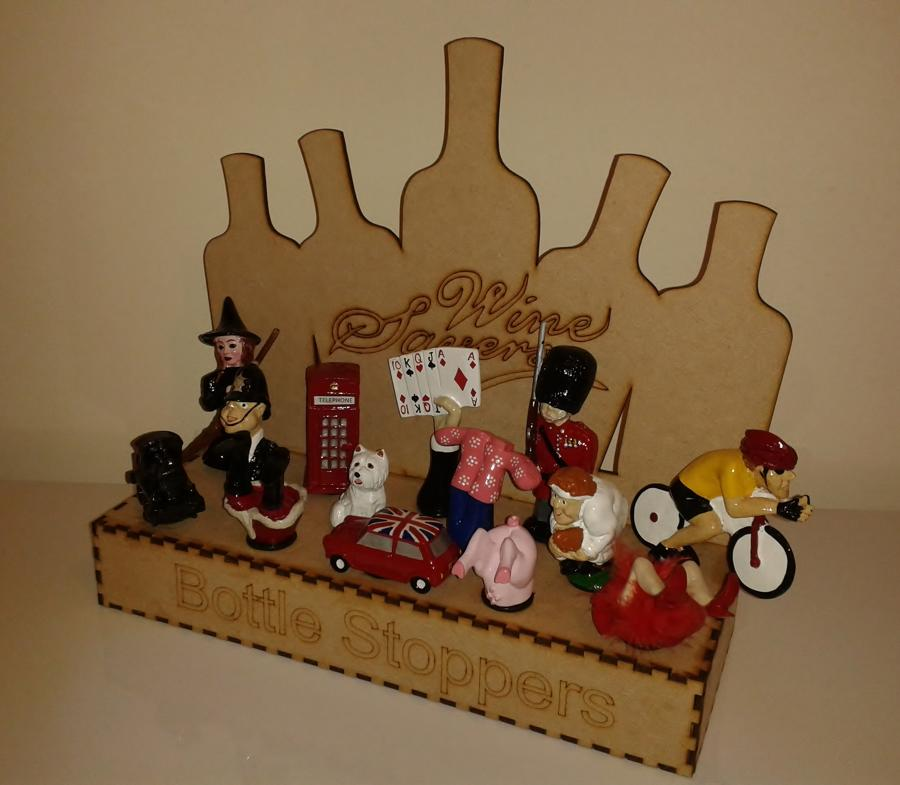 Small Wooden Bottles Display